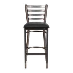 flash furniture hercules series clear coated ladder back metal barstool black clear