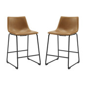 "26"" Faux Leather Counter Stool 2 pack, Whiskey Brown"