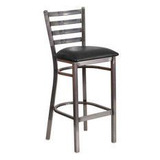 Flash Furniture Hercules Series Clear Coated Ladder Back Metal Restaurant Barstool Black Vinyl