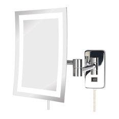 Modern Wall Mounted Rectangular LED Make-Up Mirror, Chrome