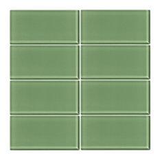 """3""""x6"""" Pistachio Glass Subway Tile, Set of 8"""