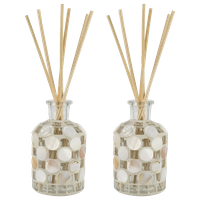 Tan and White Tile Reed Diffuser Set of 2 in Sand Color - Reed  Sand Finish