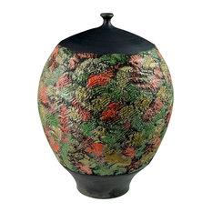 Raku Textured Bottle Vase