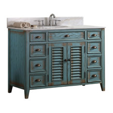 "Modetti Palm Beach Cottage Beach Look Single Bathroom Vanity, 46"" Blue"