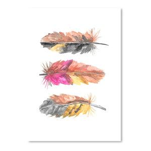 """Watercolor Boho Feather Trio 1,"" Art Print, 12""x16""x0.1"""