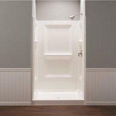El Mustee   Durawall Fiberglass Shower Wall Kit, 3 Piece, 3 Shelves,