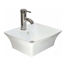Decor Love - Modern Bathroom Wash Basin Sink in White Ceramic with Chrome Finish Tap - Bathroom Sinks