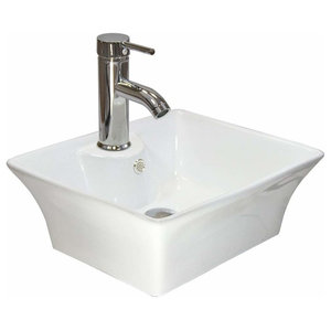 Modern Bathroom Wash Basin Sink in White Ceramic with Chrome Finish Tap