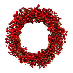 """Serene Spaces Living Red Berries Wreath, Use for Valentines Day, 20"""" Diameter"""