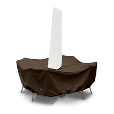 """80"""" Round Table High Back Dining Set Cover With Umbrella Hole, Chocolate"""