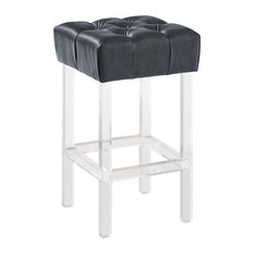 Dwellist Ava 26-inch Counter Height Bar Stool Gray Faux Leather Acrylic Legs