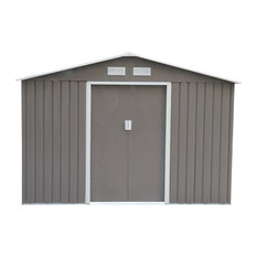 Outsunny 9'x6' Outdoor Metal Garden Storage Shed, Gray/White