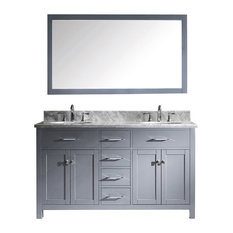 "Virtu Caroline 60"" Double Bathroom Vanity, Gray With Marble Top, With Mirror"