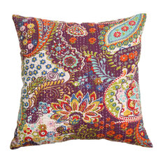 "Rugsville Cotton Kantha Work Ethnic Floral Purple Pillow Cover  16""x16"""