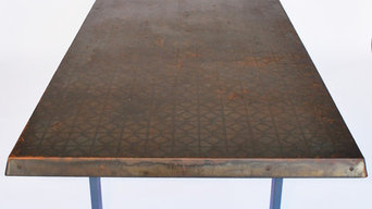 Steel Patterned Patina Table