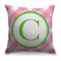 """Letter C - Circle Plaid"" Outdoor Pillow 16""x16"""