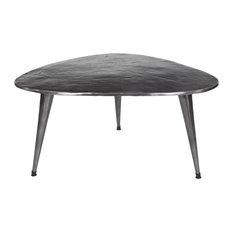 Metallic Mid-Century Kidney-Shaped Large Coffee Table w/ Beaded Legs