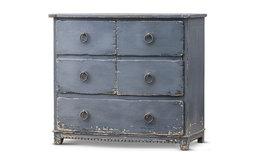 Shipwreck Coastal Beach Weathered Blue 5 Drawer Dresser