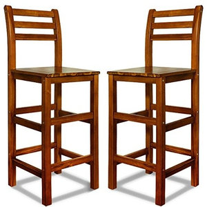 Traditional Set of 2 Bar Stool in Acacia Hardwood with Backrest and Footrest