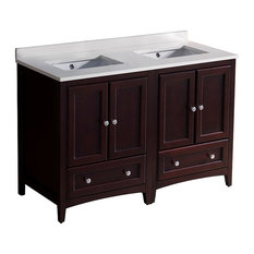 """48"""" Oxford Double Sink Bathroom Cabinet, Base: Mahogany, With Top and Sink"""