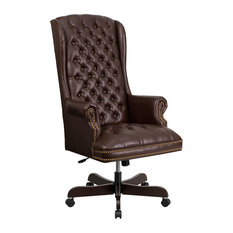 Offex   Offex High Back Traditional Tufted Leather Executive Office Chair  Brown   Office Chairs