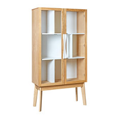 Avon Display Cabinet With Glass Doors, Oak and White