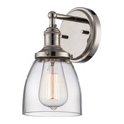 Nuvo Lighting Vintage 1-Light Sconce With Clear Glass, Polished Nickel, 60-5414