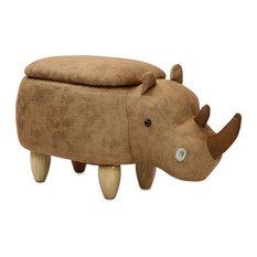 "15"" Seat Height Animal Shape Storage Ottoman Furniture Brown Rhino"