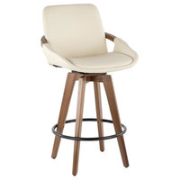 Lumisource Cosmo Mid-Century Counter Stool, Walnut and Cream Faux Leather
