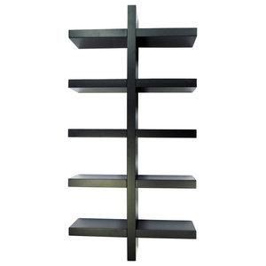 Essa Wall Mounted Floating 5-Tier Display Shelf, Black