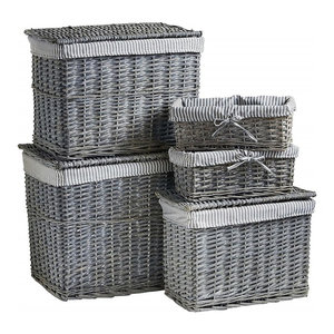 Traditional 5-Piece Set Storage Baskets and Trunks, Wicker With Washable Fabric