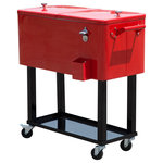 Outsunny - Outsunny 80 QT Rolling Ice Chest Portable Patio Party Drink Cooler Cart, Red - Bring the party with you wherever you go with this portable Outsunny rolling party cooler.