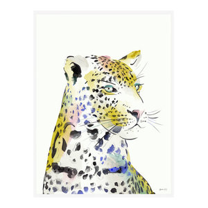 """Leopard Watercolour"" Tropical Art Print, Print Only, 50x70 cm"