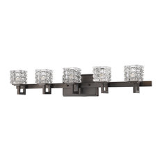 Coralie Indoor 5-Light Bath With Crystal Glass Shades, Oil Rubbed Bronze