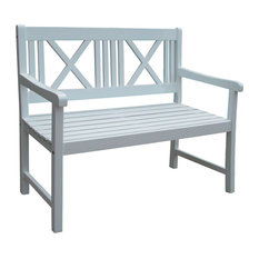 Malmö White Wooden Garden Bench, 2 Seater