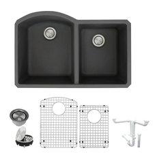 """Transolid Aversa Granite Double Bowl Kitchen Sink Kit, 31.4""""x20.5""""x9"""", Black"""