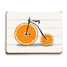 """Orange Zest Bike"" Wood Sign, 12""x16"", Planked"