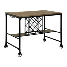 Furniture of America Manny Counter Height Pub Table with Casters in Medium Oak