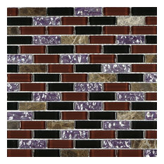 """11.75""""x12"""" Benton Mosaic Tile Sheet, Burgundy, Black, Purple and Brown"""