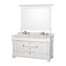 "Andover 60"" Double Bathroom Vanity 56"" Mirror, White, White Marble Top"