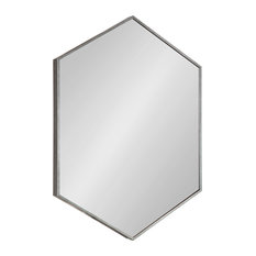 Rhodes Framed Hexagon Wall Mirror, Dark Silver 22x31