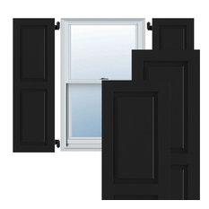 "15""W x 59""H True Fit PVC Two Equal Raised Panel Shutters, Black"