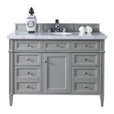 Brittany 48-inch Urban Gray Single Vanity 3 Cm Carrara Marble Top