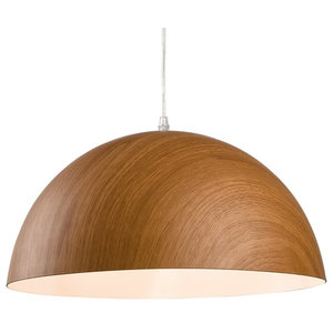 Forest Round Wood-Effect Pendant