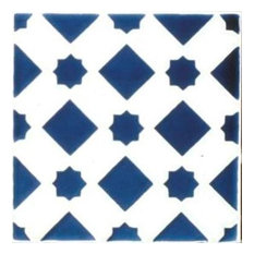 "Mediterranean Blue Star Ceramic Tile, 6""x6"""