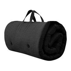 Contemporary Futon Mattress, Fabric, Handles, Black