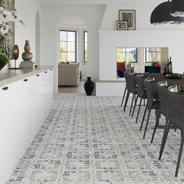 Gorgeous Pattern Marble Floor In Dining Room