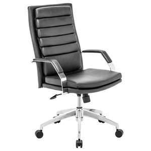 Modern Contemporary Office Chair, Black Leatherette Chrome Steel