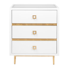 Worlds Away 3-Drawer White Side Table HYDE WHG, White Lacquer, Gold Leaf Accents