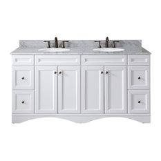 "Talisa 72"" Double Bathroom Vanity Set, White With No Mirror, Round Basin"